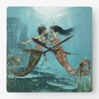 Friendly Mermaids Wall Clock