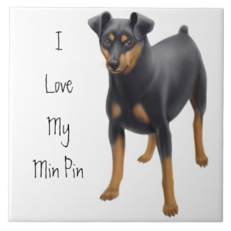 Friendly Miniature Pincher Dog Customizable Tile