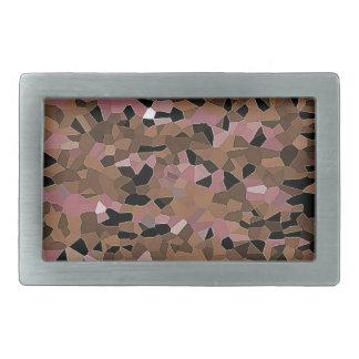 friendly mosaic beige rectangular belt buckle