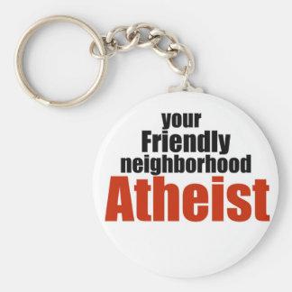 Friendly neighborhood atheist basic round button keychain