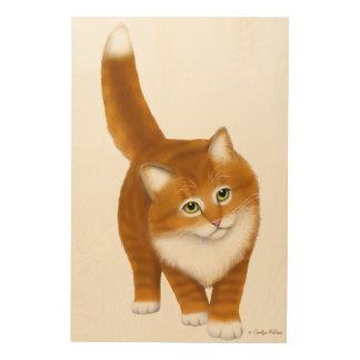 Friendly Orange Tabby Cat Wood Wall Art