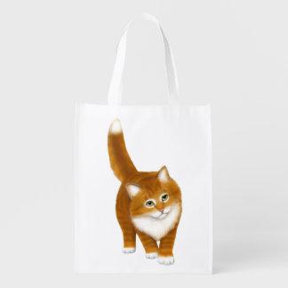 Friendly Orange Tabby Kitten Grocery Bag