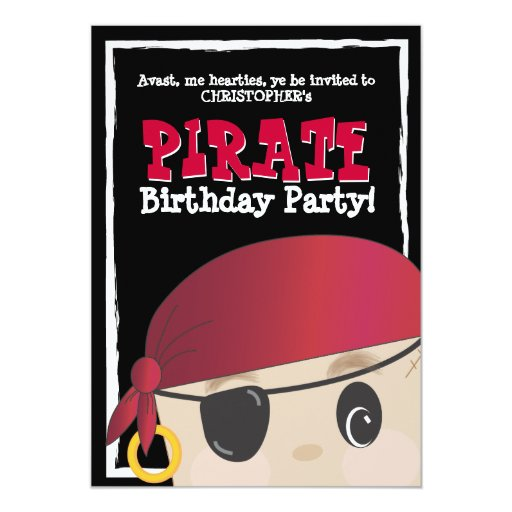 Friendly Pirate Birthday or Halloween Party 5x7 Paper Invitation Card