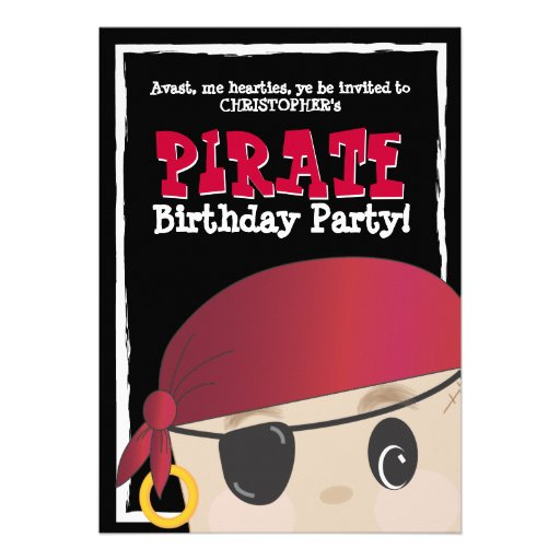 Friendly Pirate Birthday or Halloween Party Personalized Announcements