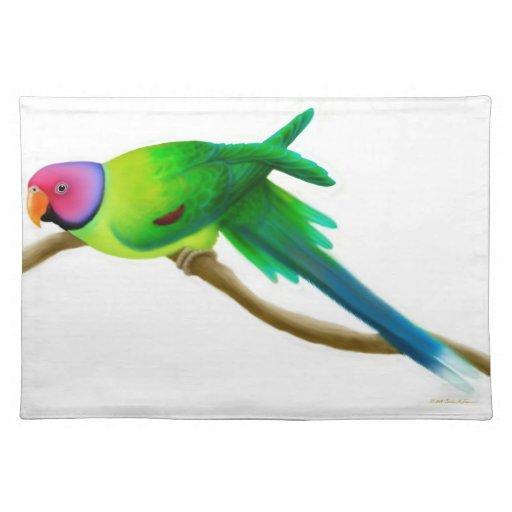 Friendly Plum Headed Parakeet Placemat Cloth Placemat