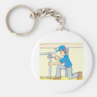 Friendly Plumber Cartoon Basic Round Button Keychain