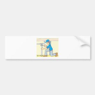 Friendly Plumber Cartoon Bumper Sticker
