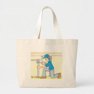 Friendly Plumber Cartoon Large Tote Bag