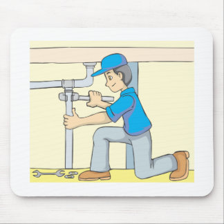 Friendly Plumber Cartoon Mouse Pad