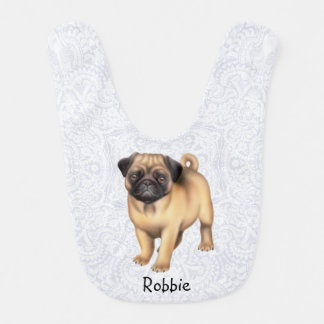 Friendly Pug Dog Customizable Baby Bib