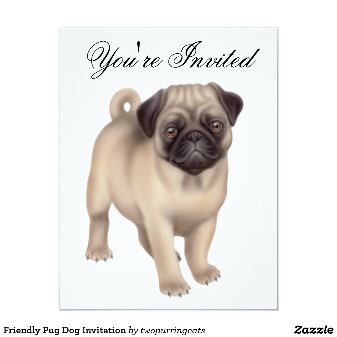 Friendly Pug Dog Invitation