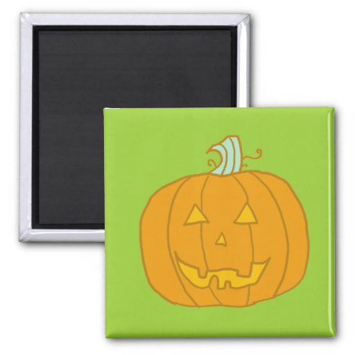 Friendly pumpkin 2 inch square magnet