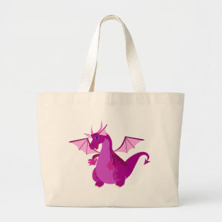 Friendly Purple and Pink Dragon Large Tote Bag