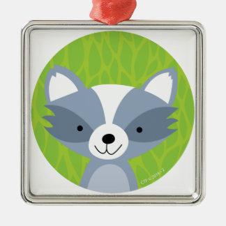 Friendly Raccoon - Woodland Friends Metal Ornament