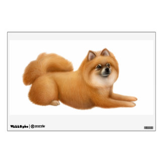 Friendly Red Pomeranian Dog Wall Decal