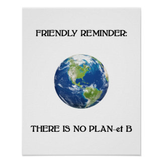 Friendly reminder no plan b earth poster