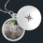 """Friendly Rhino Silver Plated Necklace<br><div class=""""desc"""">Rhino looking very eager and friendly.</div>"""