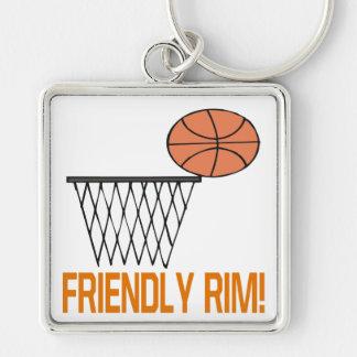 Friendly Rim Silver-Colored Square Keychain