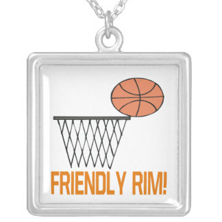 Friendly Rim Square Pendant Necklace