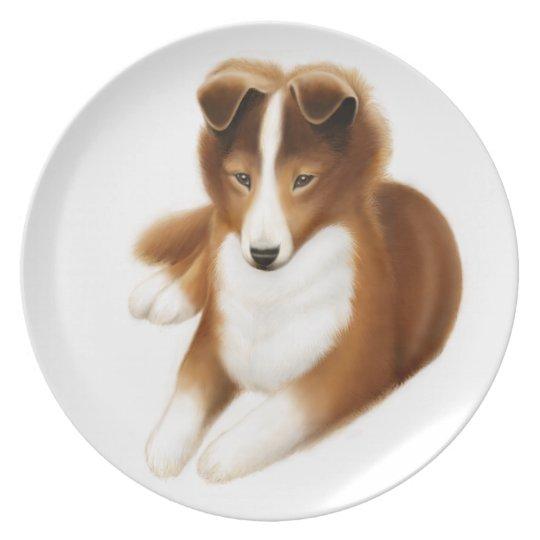 Friendly Shetland Sheepdog Puppy Plate
