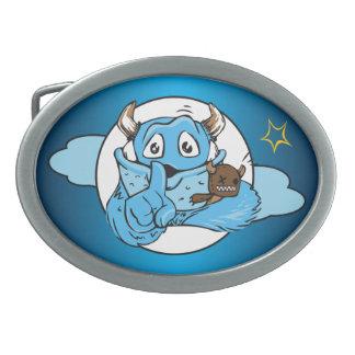 Friendly Shush Monster Oval Belt Buckle