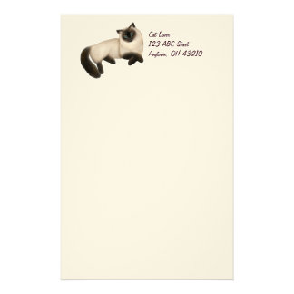Friendly Siamese Cat Customizable Stationery