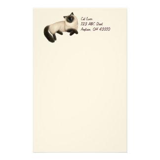 Friendly Siamese Cat Customizable Stationery