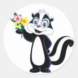 Friendly Skunk with Flowers Classic Round Sticker