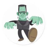 Friendly Smiling Frankenstein's Monster Walking Classic Round Sticker
