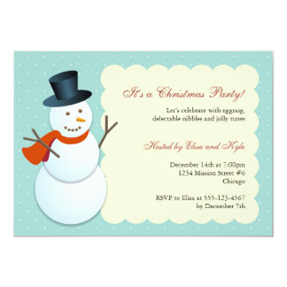Friendly snowman north pole blue Christmas party Card