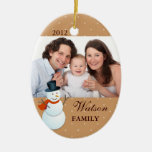 Friendly snowman north pole brown Christmas photo Double-Sided Oval Ceramic Christmas Ornament