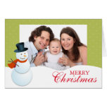 Friendly snowman north pole green Christmas photo Greeting Card