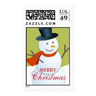Friendly snowman north pole green Christmas stamps