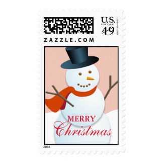 Friendly snowman north pole pink Christmas stamps