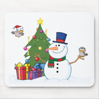 Friendly Snowman With A Cute Birds Mouse Pad