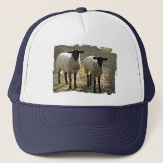Friendly Suffolk Sheep Barnyard Pasture Trucker Hat