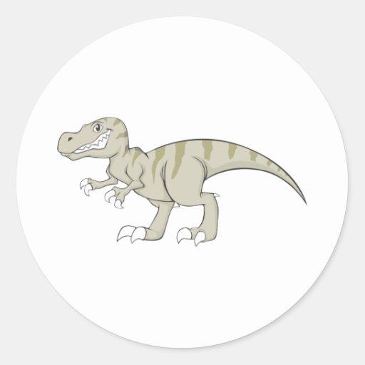 Friendly Tyrannosaurus Dinosaur Round Sticker