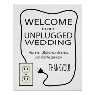 Friendly Unplugged Wedding Welcome Sign