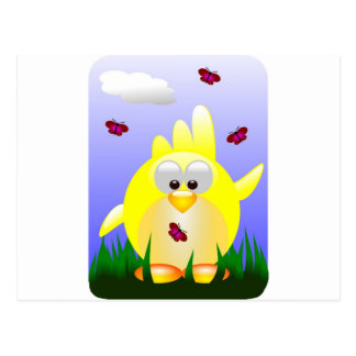 Friendly waving Easter Chick Postcard