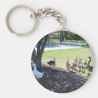 Friendly White Duck with Geese Keychains