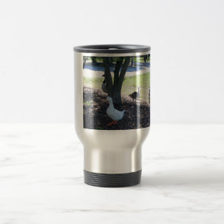 Friendly White Duck with Geese Travel Mug