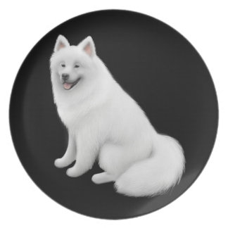 Friendly White Samoyed Dog Plate