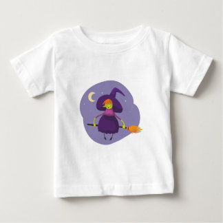 Friendly witch flying broom halloween baby shirt