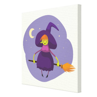Friendly witch flying on broom at night halloween canvas print
