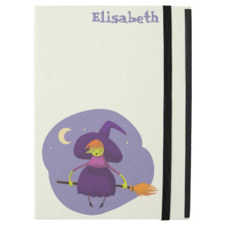 """Friendly witch flying on broom at night halloween iPad pro 12.9"""" case"""