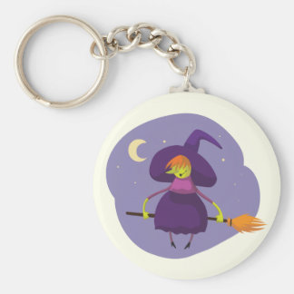 Friendly witch flying on broom at night halloween keychain