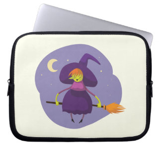 Friendly witch flying on broom at night halloween laptop sleeve