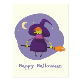 Friendly witch flying on broom at night halloween postcard