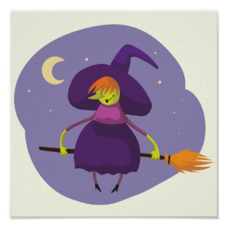 Friendly witch flying on broom at night halloween poster