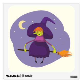 Friendly witch flying on broom at night halloween wall sticker
